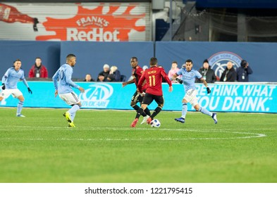 New York, NY - November 4, 2018: Eric Remedi (11) of Atlanta United FC controls ball during semifinal 1st leg of Audi MLS Cup against NYC FC at Yankees stadium