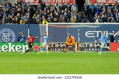 New York, NY - November 4, 2018: Hector Villalba (15) of Atlanta United FC shoots on goal during semifinal 1st leg of Audi MLS Cup against NYC FC at Yankees stadium