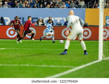New York, NY - November 4, 2018: Maximiliano Martinez (10) of NYC FC controls ball during semifinal 1st leg of Audi MLS Cup against Atlanta United FC at Yankees stadium
