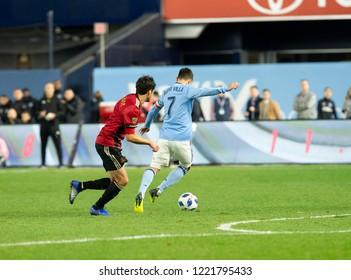 New York, NY - November 4, 2018: David Villa (7) of NYC FC controls ball during semifinal 1st leg of Audi MLS Cup against Atlanta United FC at Yankees stadium