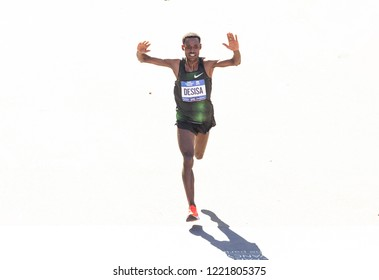 New York, NY - November 4, 2018: Lelisa Desisa of Ethiopia approaching finish line of Men's Division during the 2018 TCS New York City Marathon at Central Park