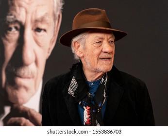 New York, NY - November 6, 2019: Sir Ian McKellen attends The Good Liar premiere at 787 7th Avenue in Manhattan