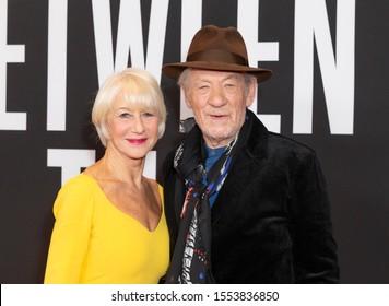New York, NY - November 6, 2019: Dame Helen Mirren and Sir Ian McKellen attend The Good Liar premiere at 787 7th Avenue in Manhattan
