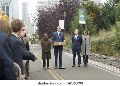 New York, NY - November 6, 2017: Mayor Bill de Blasio speaks at tribute for victims of the Tribeca terrorist attack on West street