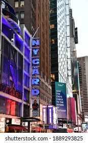 NEW YORK, NY - OCT 18: Times Square, featured with Broadway Theaters and animated LED signs, in Manhattan, as seen on Oct 18, 2020. It is a symbol of New York City and the United States.