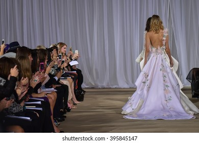 NEW YORK, NY - OCTOBER 09: Models walks the runway during the Ines Di Santo Fall/Winter 2016 Couture Bridal Collection runway show at The IAC Building on October 9, 2015 in New York City.