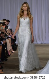 NEW YORK, NY - OCTOBER 09: A model walks the runway during the Ines Di Santo Fall/Winter 2016 Couture Bridal Collection runway show at The IAC Building on October 9, 2015 in New York City.