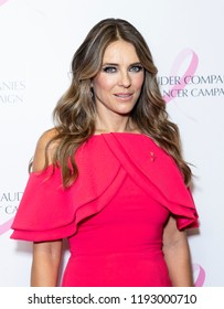 New York, NY - October 1, 2018: Elizabeth Hurley wearing dress by Christian Siriano & shoes by Christian Louboutin attends the Estee Lauder 2018 Breast Cancer Campaign at Bar SixtyFive