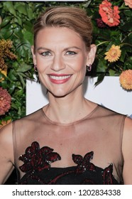New York, NY - October 11, 2018: Claire Danes wearing dress by Oscar de la Renta attends the 20th Anniversary Hudson River Park Gala at Hudson River Park's Pier 60