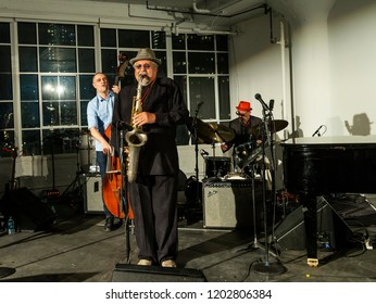 New York, NY - October 13, 2018: Joe Locano Classic Quartet performs at Loft Party A Night for the Soul for Jazz Foundation of America at Hudson Studios