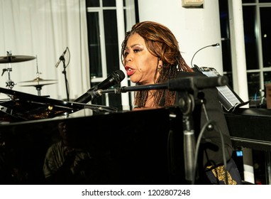 New York, NY - October 13, 2018: Valerie Simpson performs at Loft Party A Night for the Soul for Jazz Foundation of America at Hudson Studios