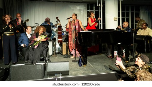 New York, NY - October 13, 2018: Musicians pay tribute to Roberta Flack at Loft Party A Night for the Soul for Jazz Foundation of America at Hudson Studios