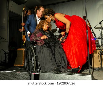 New York, NY - October 13, 2018: Macy Gray pays tribute to Roberta Flack at Loft Party A Night for the Soul for Jazz Foundation of America at Hudson Studios