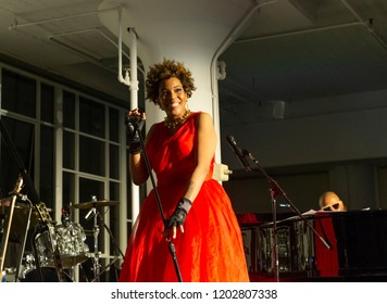 New York, NY - October 13, 2018: Macy Gray performs at Loft Party A Night for the Soul for Jazz Foundation of America at Hudson Studios