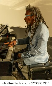 New York, NY - October 13, 2018: Robert Baabe Irving II performs with Pocket Science quartet at Loft Party A Night for the Soul for Jazz Foundation of America at Hudson Studios