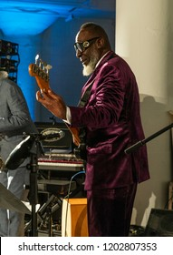 New York, NY - October 13, 2018: Jamaaladeen Tacuma performs with Pocket Science quartet at Loft Party A Night for the Soul for Jazz Foundation of America at Hudson Studios