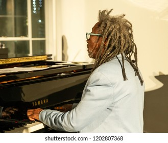 New York, NY - October 13, 2018: Robert Baabe Irving III performs with Pocket Science quartet at Loft Party A Night for the Soul for Jazz Foundation of America at Hudson Studios