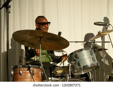 New York, NY - October 13, 2018: Steve Jordan performs at Loft Party A Night for the Soul for Jazz Foundation of America at Hudson Studios
