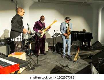 New York, NY - October 13, 2018: Pocket Science quartet with Kahil El'Zabar performs at Loft Party A Night for the Soul for Jazz Foundation of America at Hudson Studios