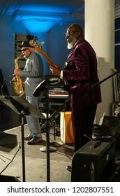 New York, NY - October 13, 2018: Gary Bartz & Jamaaladeen Tacuma perform with Pocket Science quartet at Loft Party A Night for the Soul for Jazz Foundation of America at Hudson Studios