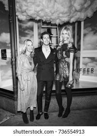 NEW YORK, NY - October 17, 2017: Tracy Margolies, Edgardo Osorio and Claudia Schiffer attend the Claudia Schiffer For Aquazzura Launch at Saks Fifth Avenue