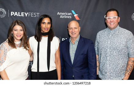 New York, NY - October 18, 2018: Judges of TV series Top Chef Gail Simmons, Padma Lakshmi, Tom Colicchio, Gaham Elliot attend presentation at Paley Center for Media