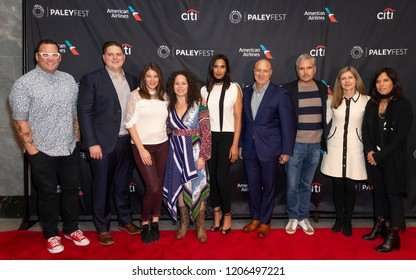New York, NY - October 18, 2018: Judges of TV series Top Chef, contestants and crew attend presentation at Paley Center for Media