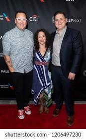 New York, NY - October 18, 2018: Graham Elliot & winners of TV series Top Chef season 15 Joe Flamm and Stephanie Izard attend presentation at Paley Center for Media