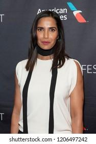 New York, NY - October 18, 2018: Judge of TV series Top Chef Padma Lakshmi wearing Balenciaga top attends presentation at Paley Center for Media