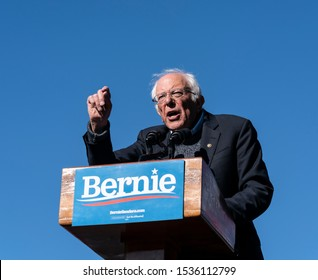 "New York, NY - October 19, 2019: U.S. Senator Bernie Sanders speaks during Bernie Sanders Rally ""Bernie's Back"" in Queensbridge Park"