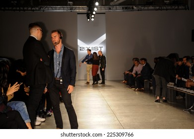 NEW YORK, NY - OCTOBER 21: The overall general atmosphere and LaForce-Stevens PR working frontstage during 2(X)IST Spring/Summer 2015 Runway Show on October 21, 2014 in New York City.