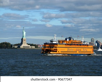 NEW YORK, NY - OCTOBER 21: Staten Island Ferry passes the Statue of Liberty on its way from New York to Staten Island on October 21, 2011 in New York, NY. Passengers can ride the ferry for free.