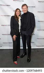 New York, NY - October 22, 2018: Rebecca Miller and Liam Neeson attend 2018 Arthur Miller Foundation Honors Gala at City Winery