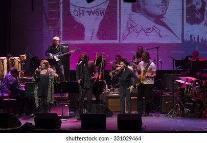 New York, NY - October 22, 2015: Sarah Dash, Nona Hendryx, Bernard Fowler perform during Great NIght in Harlem fundraising concert for Jazz Foundation of America at Apollo theater