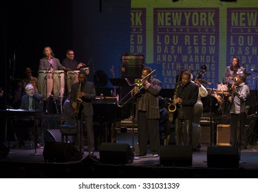 New York, NY - October 22, 2015: The Cecil Bridgewater band performs during Great NIght in Harlem fundraising concert for Jazz Foundation of America at Apollo theater
