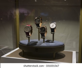 New York, NY - October 22, 2015: Wrist watches on by Parmigiani Fleurier on display at Great NIght in Harlem fundraising concert for Jazz Foundation of America at Apollo theater