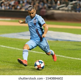 New York, NY - October 23, 2019: Maximiliano Moralez (10) of NYCFC controls ball during Eastern Conference MLS Audi Cup semifinal against Toronto FC at Citi Field Toronto FC won 2 - 1