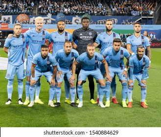New York, NY - October 23, 2019: NYCFC starting eleven pose before Eastern Conference MLS Audi Cup semifinal against Toronto FC at Citi Field Toronto FC won 2 - 1