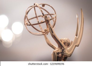 New York, NY - October 25, 2018: Soft light glowing on features of an Emmy Award Statue.
