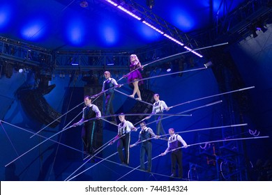 New York, NY - October 29, 2017: Nik Wallenda high wire group performs at Big Apple Circus opening night at Lincoln Center Damrosch Park