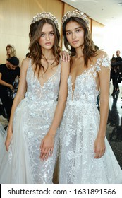 NEW YORK, NY - OCTOBER 5: Models posing backstage before  the Berta Fall 2020 Bridal Runway Show on OCTOBER 5, 2019 in New York City.