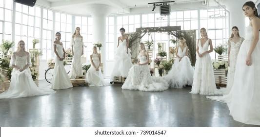 NEW YORK, NY - October 5, 2017: Models pose at the Marchesa Bridal Fall 2018 Collection Presentation during NY Fashion Week Bridal
