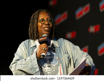 New York, NY - October 6, 2018: Whoopi Goldberg attends Amazon Prime Good Omens panel during New York Comic Con at Hulu Theater at Madison Square Garden