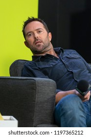 New York, NY - October 6, 2018: Blindspot Sullivan Stapleton speaks on live stage during New York Comic Con at Jacob Javits Center