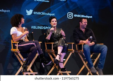 New York, NY - October 6, 2018: Jordyn Rolling, Jaimie Alexander and Sullivan Stapleton attend panel for NBC series Blindspot during New York Comic Con at Jacob Javits Center