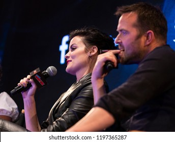 New York, NY - October 6, 2018: Jaimie Alexander & Sullivan Stapleton attend panel for NBC series Blindspot during New York Comic Con at Jacob Javits Center