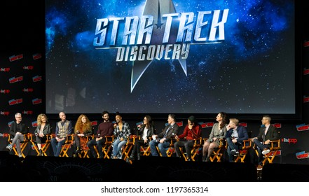 New York, NY - October 6, 2018: Crew and cast attend Star Trek: Discovery panel during New York Comic Con at Hulu Theater at Madison Square Garden