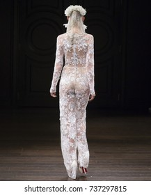NEW YORK, NY - October 6, 2017: Klara Urbanova walks the runway at the Naeem Khan Bridal Fall 2018 Collection Runway Show during NY Fashion Week Bridal
