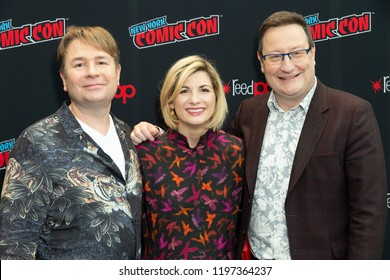 New York, NY - October 7, 2018: Matt Strevens, Jodie Whittaker, Chris Chibnall attends photocall for Doctor WHO new season during New York Comic Con at Jacob Javits Center