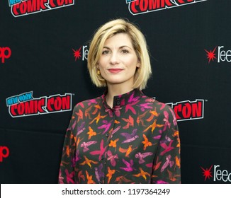 New York, NY - October 7, 2018: Jodie Whittaker wearing dress by Jeanette attends photocall for Doctor WHO new season during New York Comic Con at Jacob Javits Center